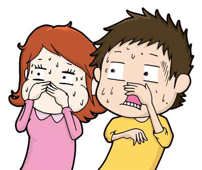 鼻をつまむ男女