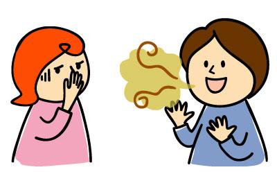 口臭がキツイ女性と鼻をつまむ女性